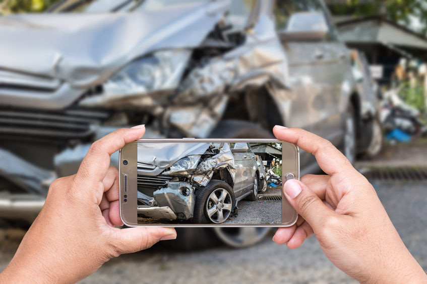 taking photos of car accident