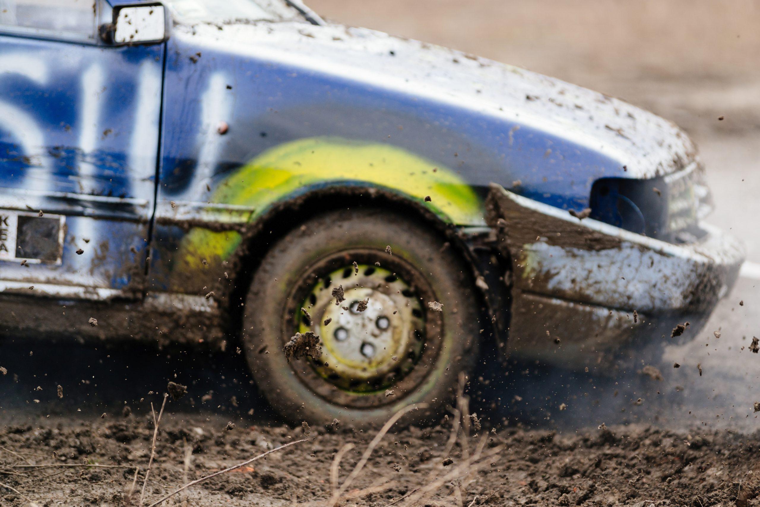 car driving in dirt